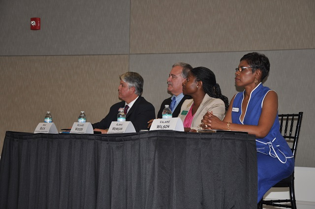 From right to left: Valarie Wilson, Alisha Thomas Morgan, Richard Woods and Mike Buck get ready to answer questions during a League of Women Voters forum held on June 30. Photo by Dan Whisenhunt (Decaturish)