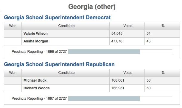 Georgia School Super runoff results 07-22-14